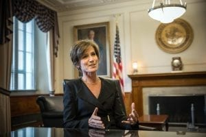 Former Deputy Attorney General Sally Yates was fired by Trump after resisting implementation of the travel ban; photo courtesy of Evelyn Hockstein, Washington Post via Getty