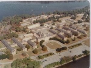 Overhead view of Hadnot Point at Camp Lejeune in the mid-1970s
