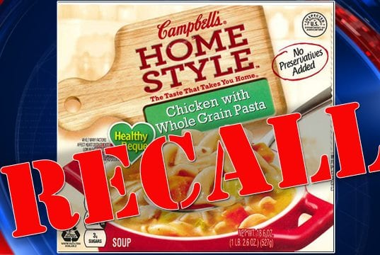 Image of a Campbell's Soup Label with 'RECALL' written over it.