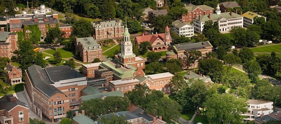 Aerial image of Dartmouth College.