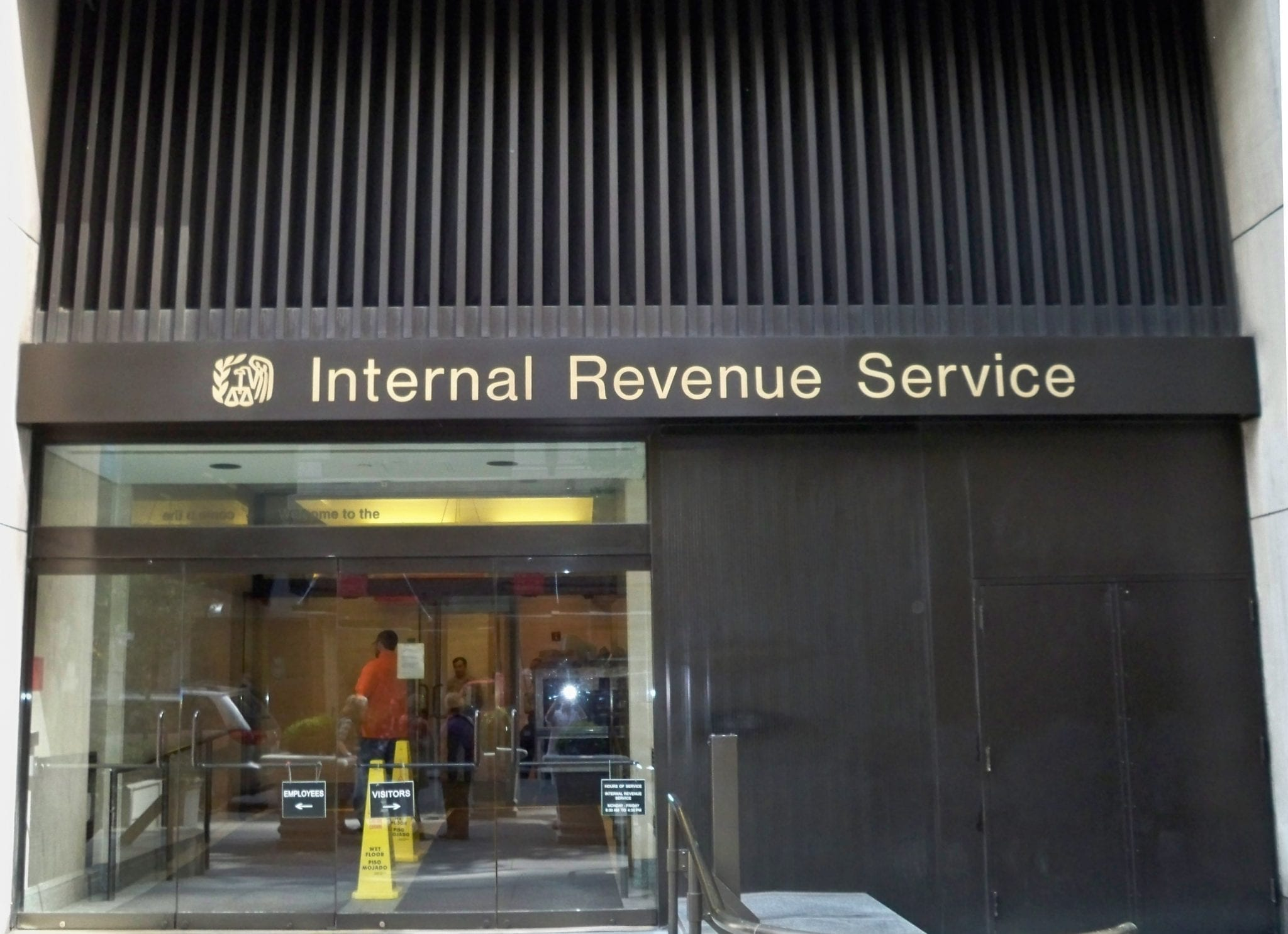 Exterior of the Internal Revenue Service office in midtown New York; Matthew G. Bisanz, CC BY-SA 3.0, via Wikimedia Commons, no changes.