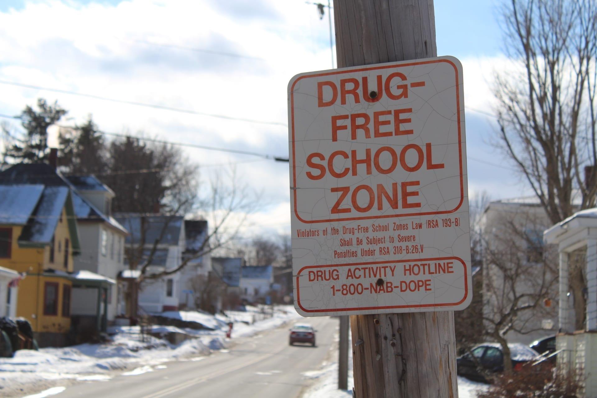 Drug-free school zone sign; image by MarkBuckawicki, CC0, from Wikimedia Commons.