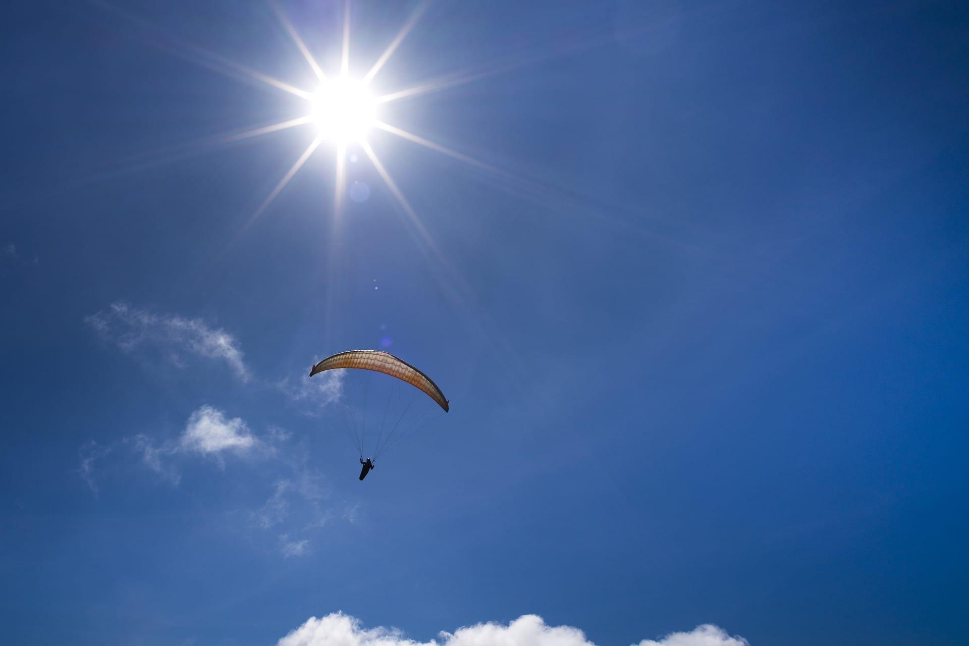 Skydiver; photo by Quangpraha, via Pixabay, CC0.