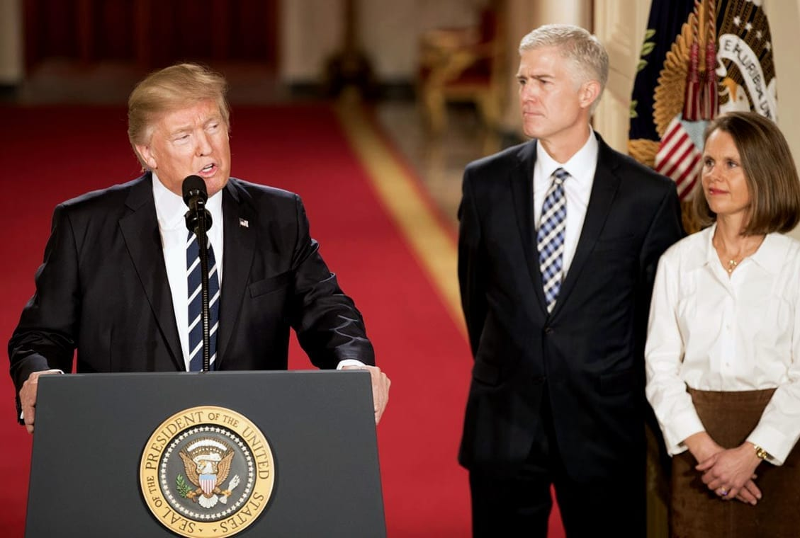 Trump with Gorsuch; image by White House official photographer, Public domain, via Wikimedia Commons.