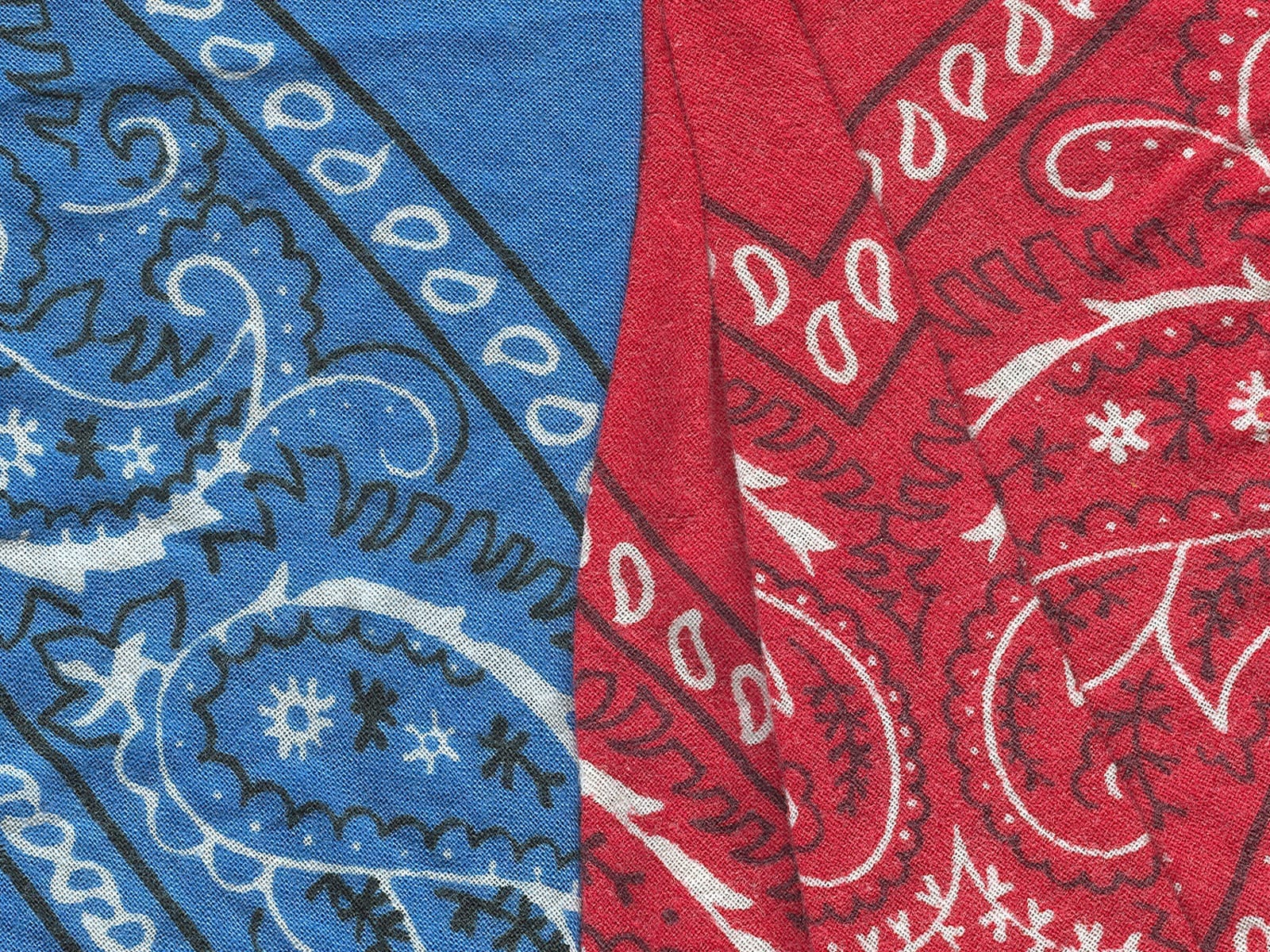 Blue and red bandanas - colors for the Crips and Bloods respectively; image by Felixed (Own work), Public domain, via Wikimedia Commons. Use of this image does not suggest photographer is in or supports gangs.