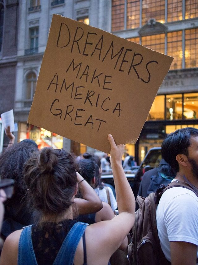Protest in support of DACA (against its rescission) at Trump Tower in New York City; photo by Rhododendrites (Own work), CC BY-SA 4.0, via Wikimedia Commons, no changes.