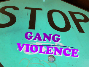 Stop Gang Violence; image by Aston Reynolds, via Flickr, CC BY 2.0, no changes.