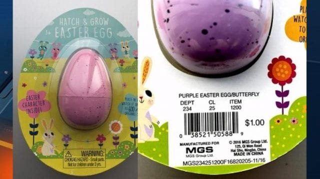 Image of the recalled Easter Egg from Target