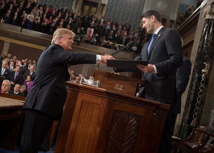 President Donald Trump shaking hands with Speaker of the House Paul Ryan at his February 28, 2017 address to a joint session of Congress.