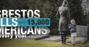 """Woman and small child stand by grave. Caption reads """"Asbestos kills up to 15,000 Americans every year."""
