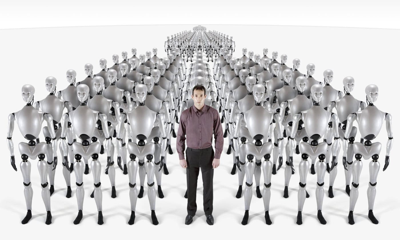 Row upon row of robots in formation with one human in their midst