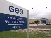 The sign for GEO Group's Karnes County Residential Center