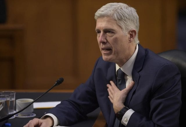 Neil Gorsuch speaking before the Senate.