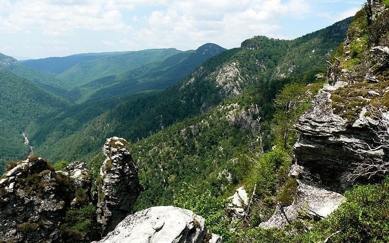 Part of the Jonas Ridge, on the eastern rim of the Linville Gorge, in the Pisgah National Forest.