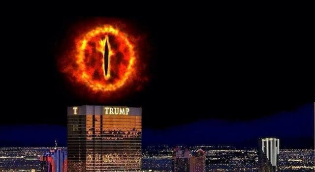 The Eye of Sauron perched above Trump Tower.