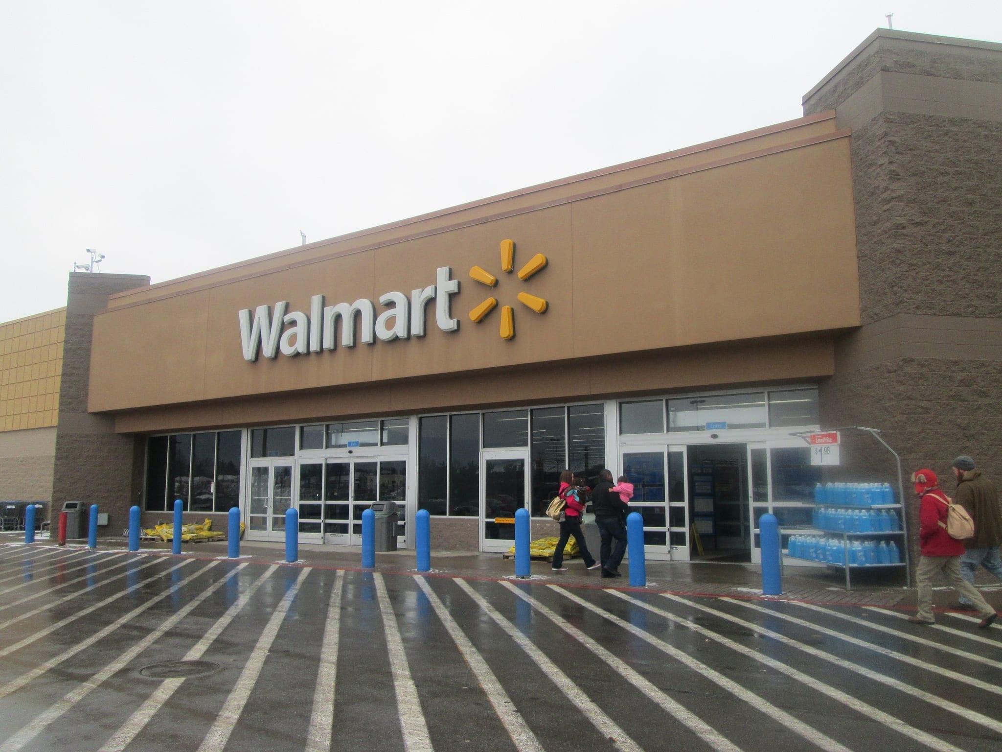 Walmart entrance; image by Random Retail, via Flickr, CC BY 2.0, no changes.