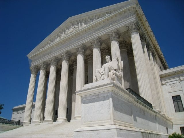 Supreme Court building, front façade; image by Daderot (Own work), Public domain, via Wikimedia Commons.