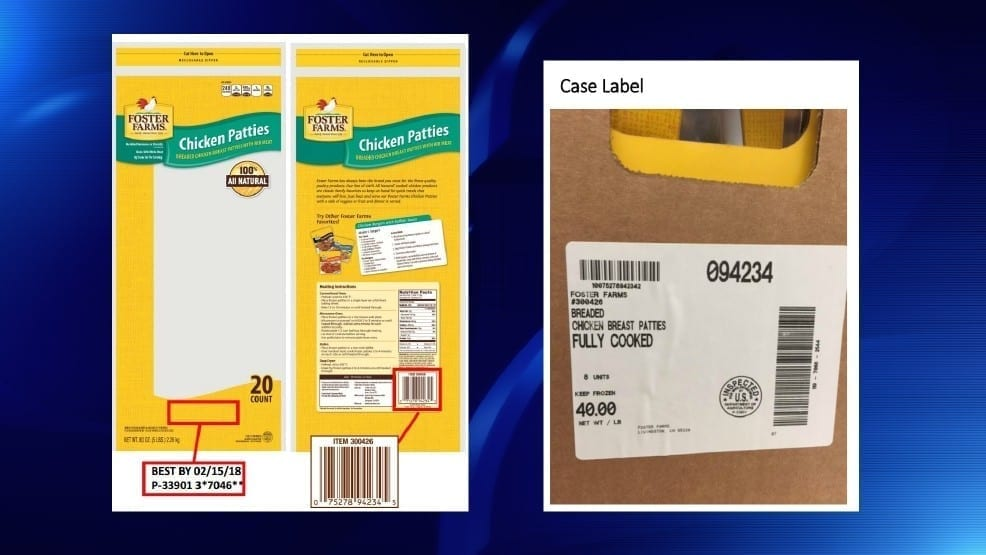USDA image detailing the Foster Farms Chicken Pattie recall
