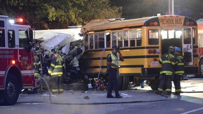 Image of the Deadly Baltimore Bus Crash scene