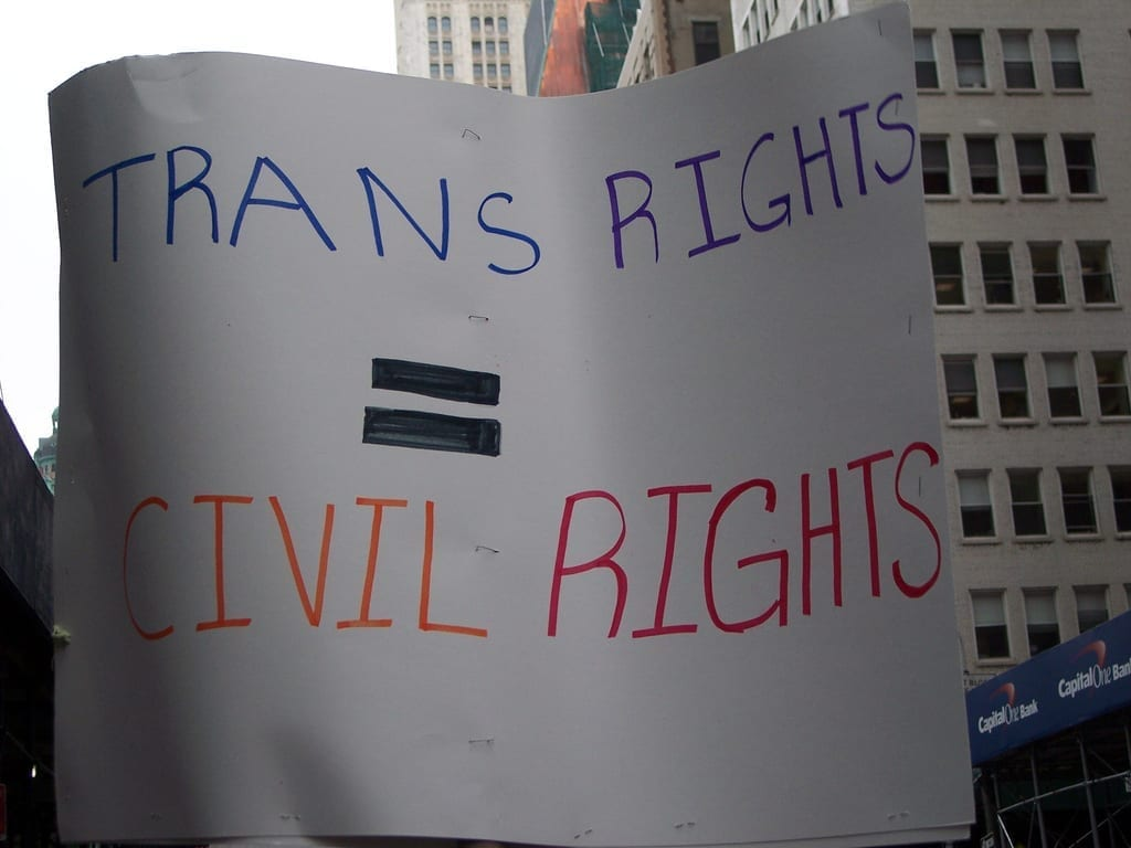 Trans rights = civil rights; image by Women's eNews, via Flickr, CC BY 2.0, no changes.
