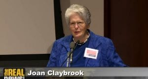 "Joan Claybrook presenting ""How Congress Really Works"" at the Ralph Nader conference, ""Breaking Through Power;"" image courtesy of www.realnews.com."
