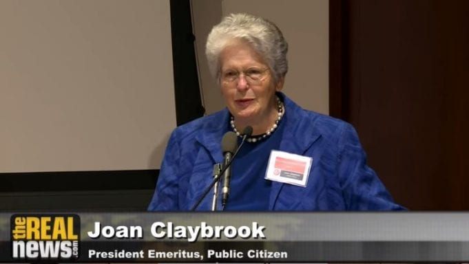 """Joan Claybrook presenting """"How Congress Really Works"""" at the Ralph Nader conference, """"Breaking Through Power;"""" image courtesy of www.realnews.com."""