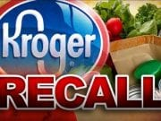 Image of the Kroger logo and the word 'RECALL' in red.
