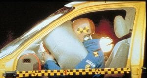 Airbag deploys for crash test dummy.