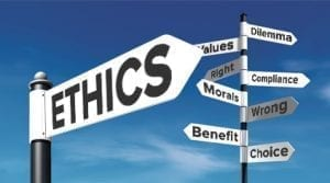 Street signs saying ethics, morals, values and benefits