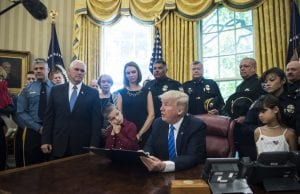 Donald Trump with police officers