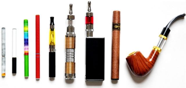 An assortment of e-cigarettes and other electronic nicotine delivery devices.