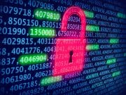 A bright pink graphic of an unlocked padlock, representing a data breach, appears in front of a dark background with numbers representing compromised data.