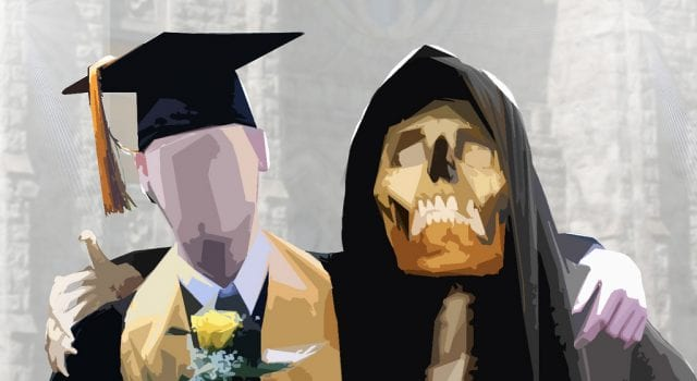 Indentured Student embraced by the Grim Reaper of Debt.