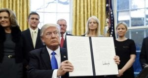 Donald Trump with executive order