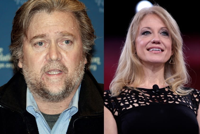 Presidential aides Steve Bannon and Kellyanne Conway, two Trump aides who received ethics waivers.