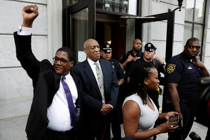 Image of Bill Cosby Outside the Montgomery County Courthouse