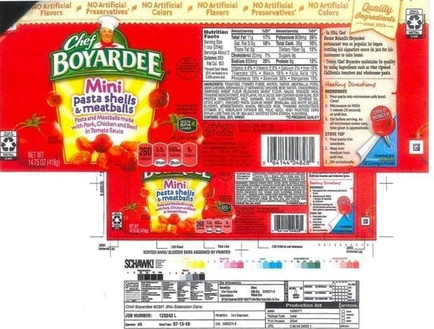 Image of a Chef Boyardee Label