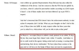 Dr. William Maisel's statement on Bayer's timeline to begin new clinical trials; excerpt from the FDA's Media Brief.