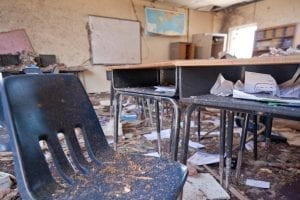 Image of a Tornado Damaged Classroom in the Tower Elementary School
