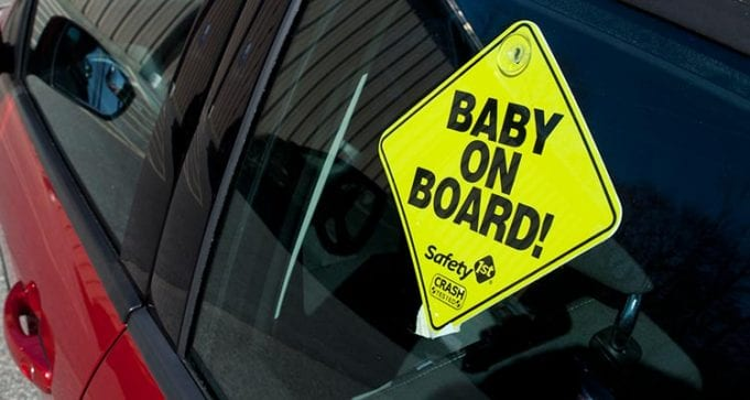 Baby on board sign; image courtesy of www.consumerreports.org.