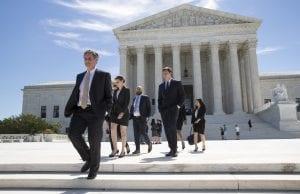 People leaving Supreme Court building in Washington, D.C.