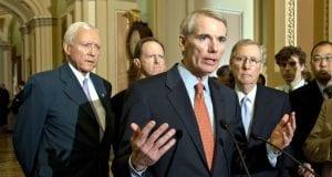 Mitch McConnell speaking alongside other Republican senators