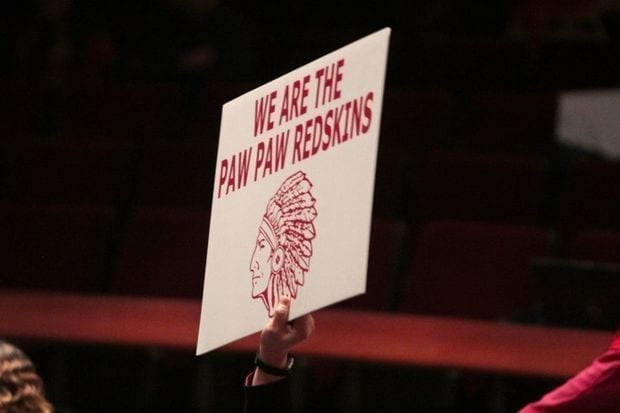 Sign with the Paw Paw Redskins logo