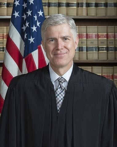 The official portrait of Supreme Court justice Neil Gorsuch.