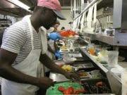Cooks preparing food at Home Port restaurant in Martha's Vineyard.