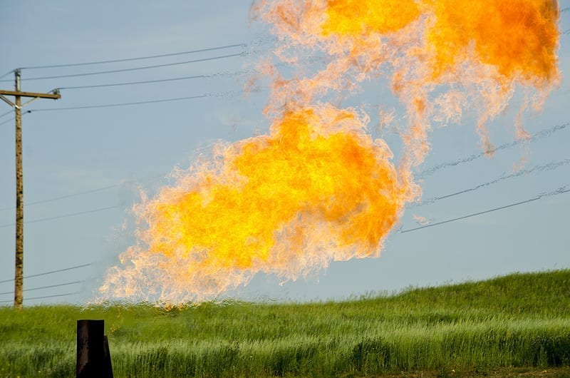 Natural gas flares from a flare-head at the Orvis State well on the Evanson family farm in McKenzie County, North Dakota.