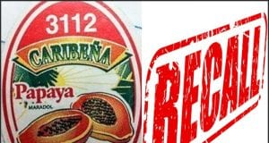 Image of the Grande Produce Recalled Papaya Sticker and the word 'RECALL' in red