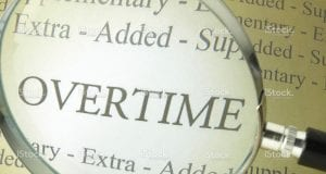 Image of the word 'Overtime' under a microscope