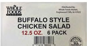 Image of a Whole Foods Chicken Salad Label