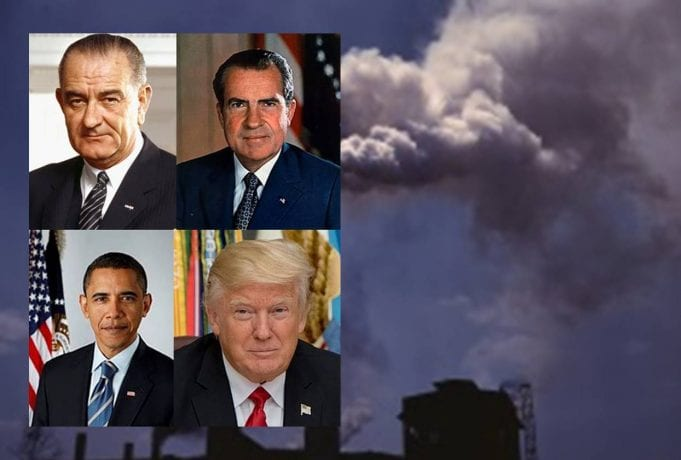 Presidents Johnson, Nixon, Obama, and Trump against a backdrop of smokestacks; images courtesy of https://en.wikipedia.org.
